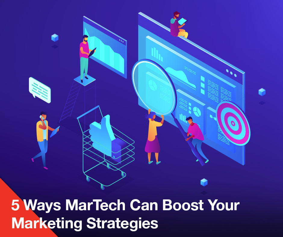 Martech marketing strategies with blue background